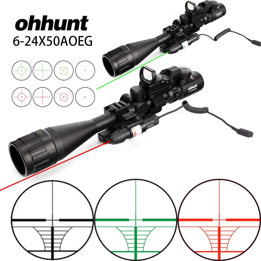 Ohhunt 6-24x50 AOEG chasse télémètre réticule portée de fusil avec holographique 4 réticule vue rouge vert Laser Combo lunette de visée