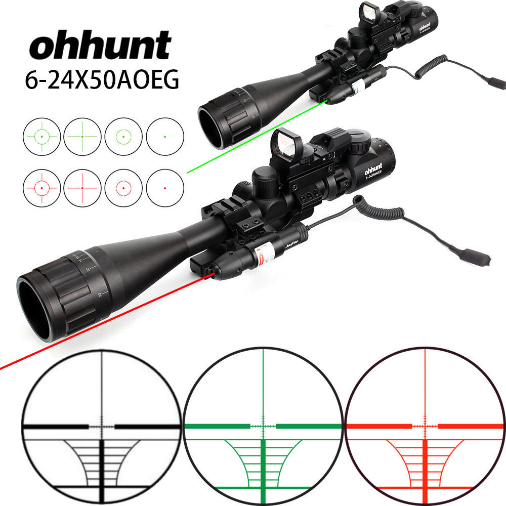 Ohhunt 6-24x50 AOEG Hunting Rangefinder Reticle Rifle Scope With Holographic 4 Reticle Sight Red Green Laser Combo Riflescope