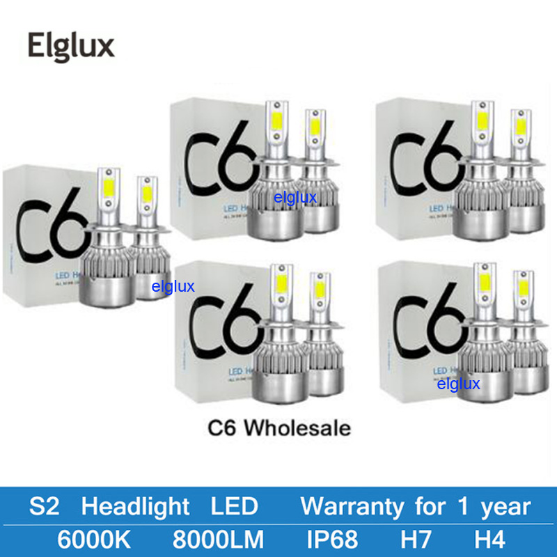 Elglux 6000K 12V C6 H3 H7 H1 8000LM 9007 H13 H4 H11 Auto Headlight Led Bulbs Bullet Super Bright Turbo For Car Light Led Lamp