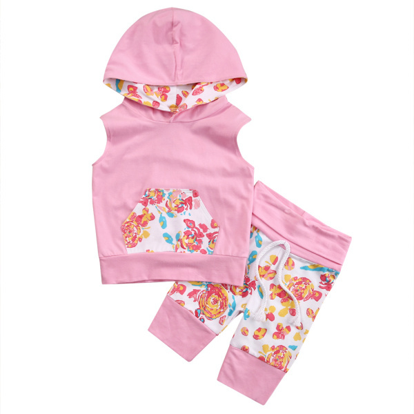 2018 Newborn Baby Clothes Set Summer Sleeveless Flower Hooded T-shirts Tops + Casual Pants Outfits Set 2pcs Hot Sale