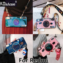 KoisAcase For Redmi 4X 5 Plus 6 Pro Note 4 5A 6 Pro Y1 lite Y2 S2 Blu-ray retro camera soft phone case with doll bracket lanyard(China)