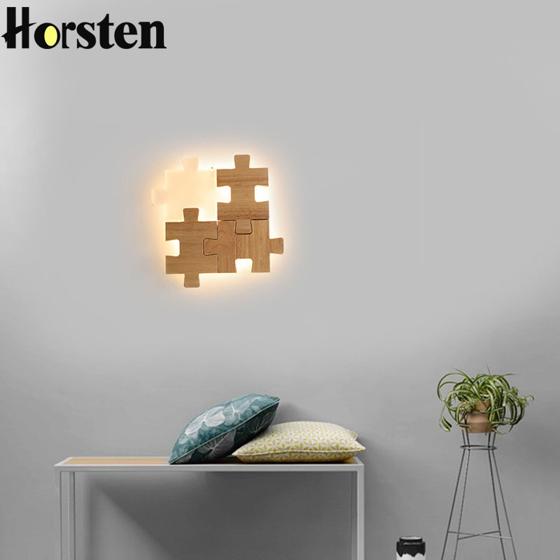 Japanese Style Wooden Wall Lamp Nordic Minimalist Puzzle Wall Light Personality Creative Solid Wood Hall Bedroom Wall LampsJapanese Style Wooden Wall Lamp Nordic Minimalist Puzzle Wall Light Personality Creative Solid Wood Hall Bedroom Wall Lamps