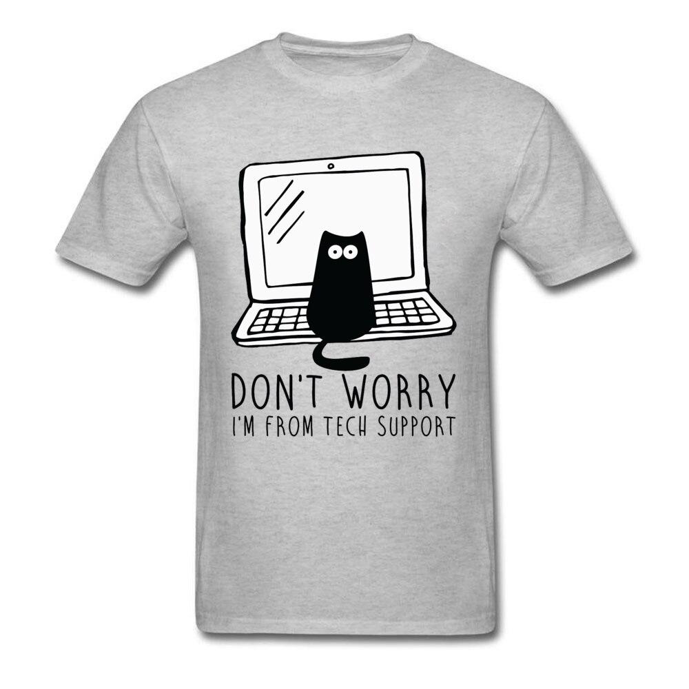 Computer Programs Cat Printed T-Shirt Tech Support 3D Funny Cats Tshirt Latest Cotton Tshirts Cat Software Programming Men