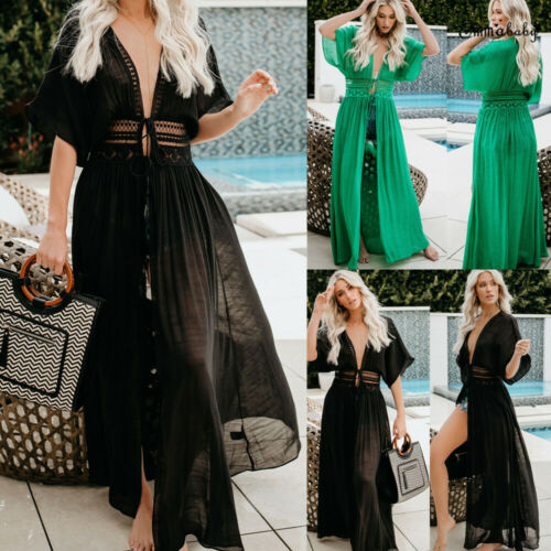 2019 Women Maxi Dress Beach Bikini Cover Up Long Dress Boho Swimwear Summer V Neck Dress