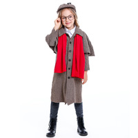 New Great Detective Sherlock Holmes Costume Cosplay Girls Halloween Costume For Kids Carnival Fancy Dress Up Suit
