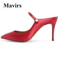 MAVIRS 2018 Extrême Haute Talon Femmes Pompes Rose Bleu Gris Vert violet Rouge De Mariage Chaussures Slip Sur Diapositives Talons Mules NOUS 5-15