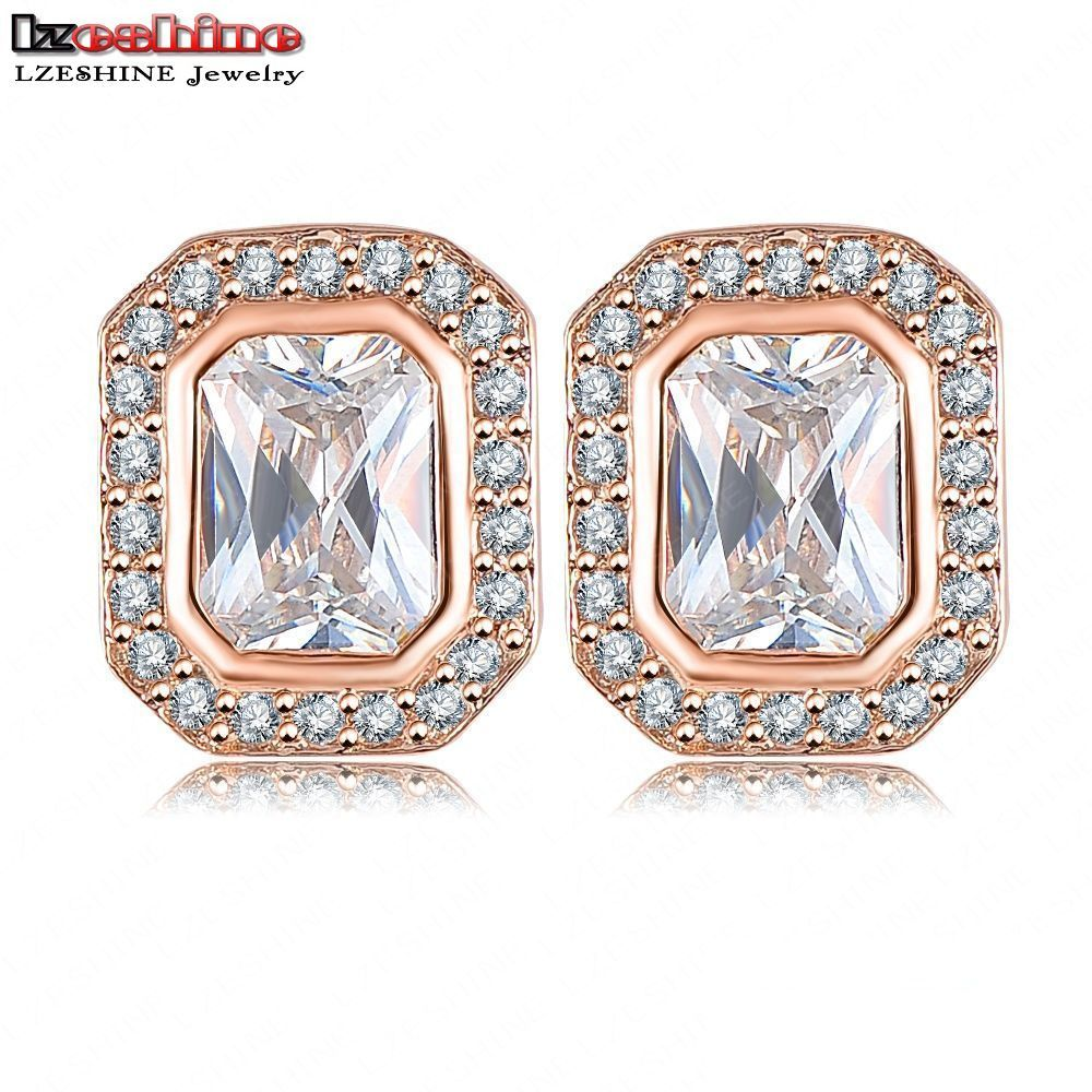 Lzeshine Fashion Square Shape Earrings Stud Rose Gold Color With Big Cz  Stone Punk Earrings Pendientes