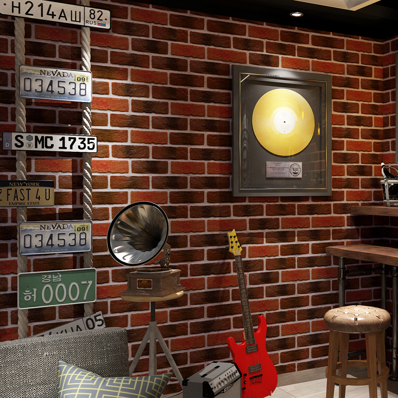 Retro Nostalgic 3D Faux Stone Brick Wall PVC Waterproof Wallpaper Roll Cafe Bar Restaurant Background Red Brick Wall Paper Decor цены