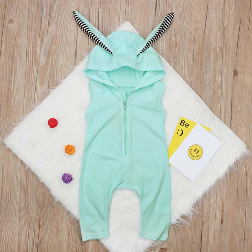 cute baby girl rompers 2018 Toddler Girls Sleeveless Romper baby onesie Rabbit Ears Striped Hooded Jumpsuit newborn clothes