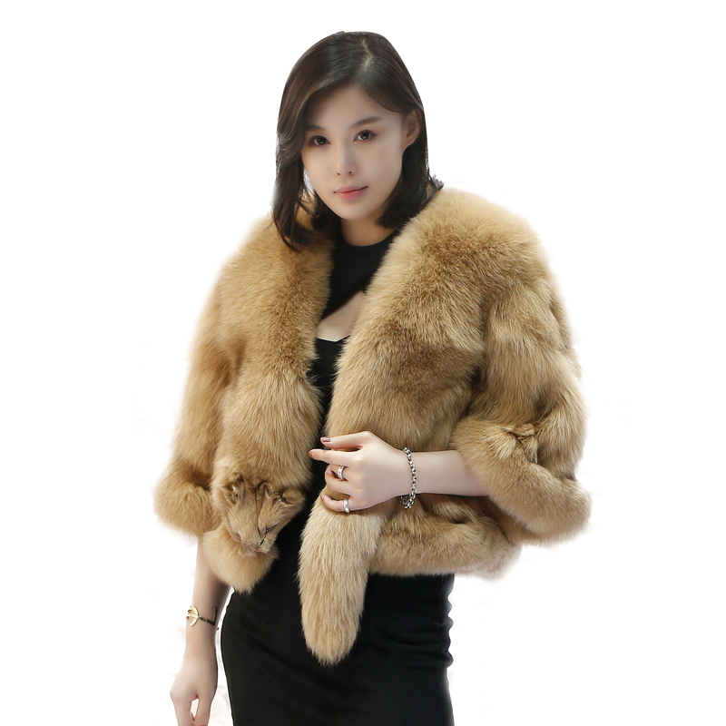 2018 new style fashion women real genuine fox fur poncho coat 100% real natural fox full fur short overcoat real fox fur jacket