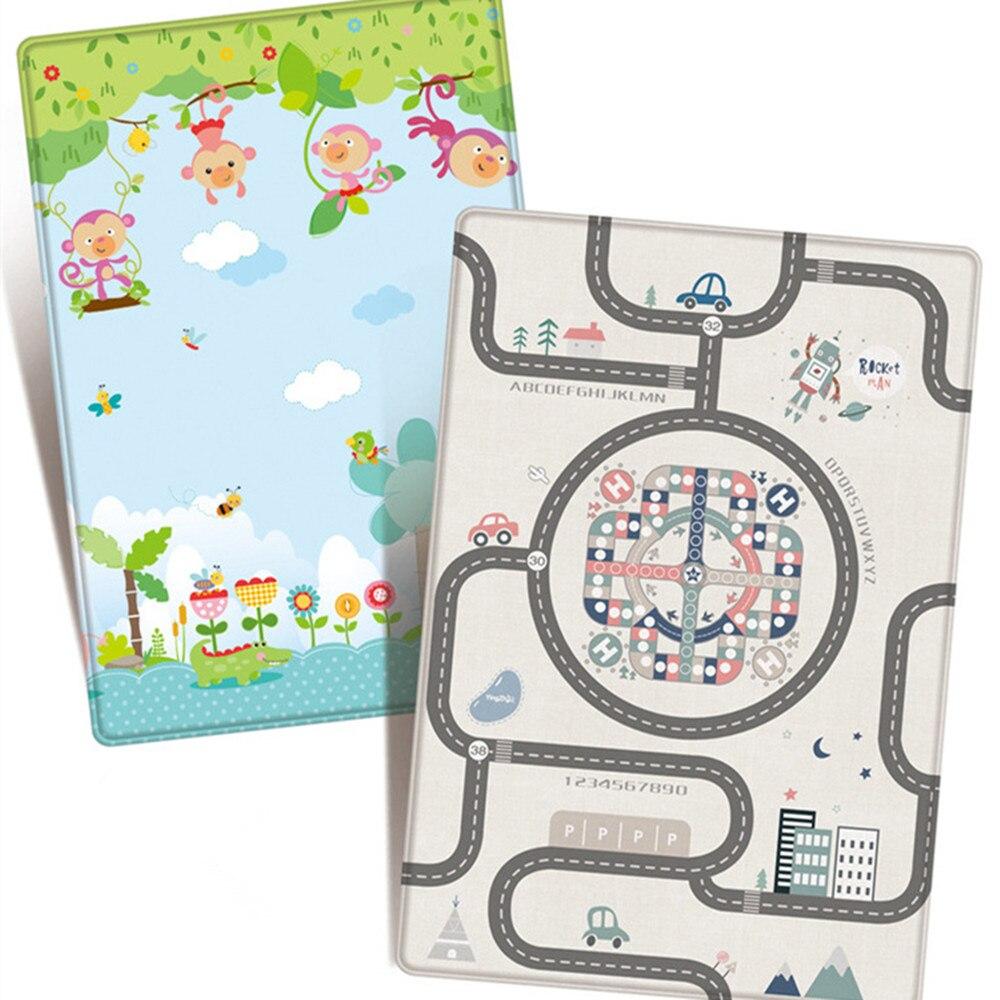 Tapis de jeu antidérapant Double face Non tissé 180*200 cm tapis rampant City Road Forest animaux tapis tapis de jeu imperméable pour enfants jouet