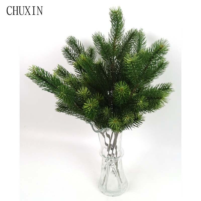 Пластиковые сосновые ветки искусственные елки украшения для дома Зеленые искусственные растения вечерние украшения для сада
