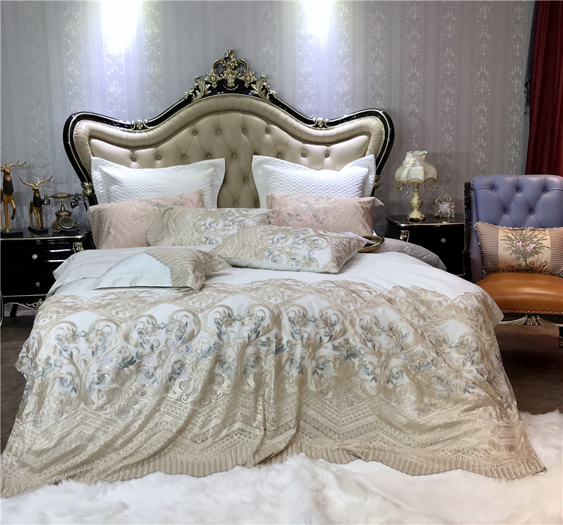 Chique Rendas Princesa jogo de cama de Luxo de Algodão Egípcio capa de Edredão com folha de Cama Pillow shams 4/7-Peças Rei queen size