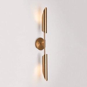 Image 3 - Minimalista Bronzo Foyer Luci Lampade Da Parete A Led Moderna Camera Da Letto Comodino Corridoio Lampada Da Parete del Riparo Nordic Loft Corridoio Apparecchi di Illuminazione