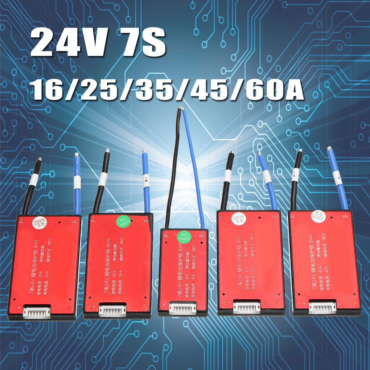 Same Port 24V 7S 16//25//35//45//60A BMS PCB PCM Electric Battery protection Board