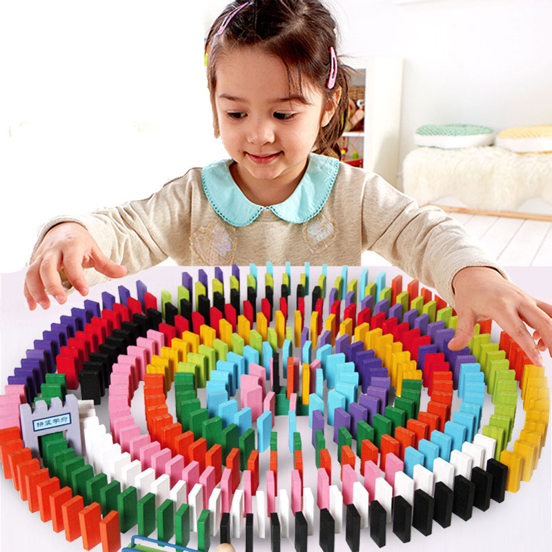 120pcs Multicolor Dominoes Wooden Toys Puzzle Set Educational Toys Family Games dominoes 1 housemates ne