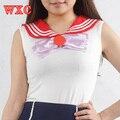 Sailor Moon Harajuku Camiseta Gola Marinheiro Japonês Lolita Bowknot Linda Meninas Camisas de Verão Tops Sem Mangas Casuais Colete WXC