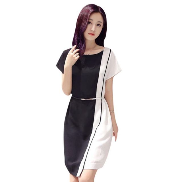 e7bf0dccabf ... Korean Summer Chiffon Mini Dress Black White Patchwork Dress Office  lady Short Sleeve Plus Size Female ...