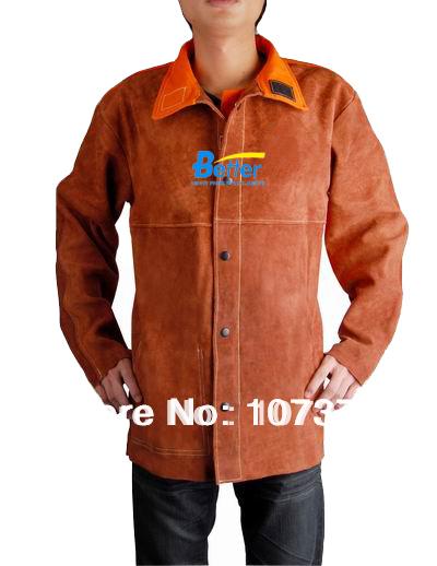 Avental da soldadura de couro de vaca orange retardador de chama de volta café jaqueta de couro da soldadura