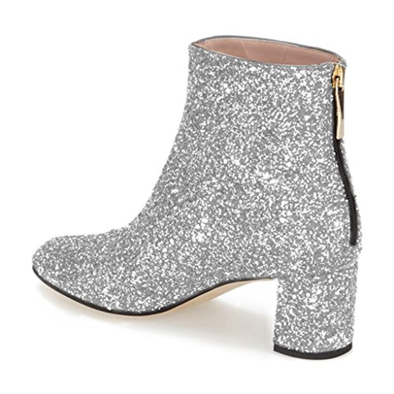 Taille Fsj Bas fsj02 Cheville Tissu Fsj01 Glitter fsj03 Femme 13 Bout Chaussures Paillettes Bloc Zips Talon Mode Rond Bottines Robe Bottes tFrFwa