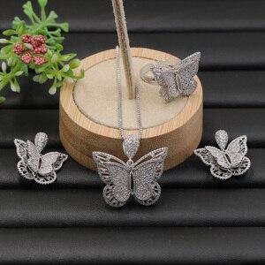 Image 4 - Lanyika Sieraden Set Stereo Graceful Vlinder Luxe Ketting met Oorbellen en Ring voor Engagement Micro Verharde Populaire Geschenken