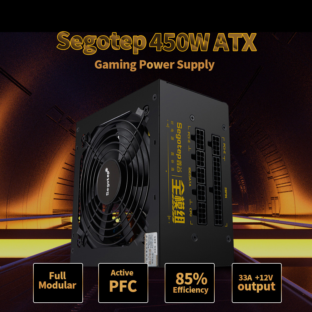 450W Full Modular Active PFC ATX Gaming Power Supply with Low Noise 120mm Fan for desktop computer pc case gamer