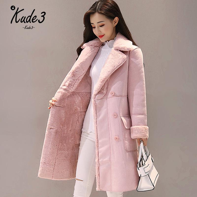 Женское зимнее пальто из замши с мехом 2018 модное плотное длинное пальто из искусственной овчины Женские однотонные теплые тренчи