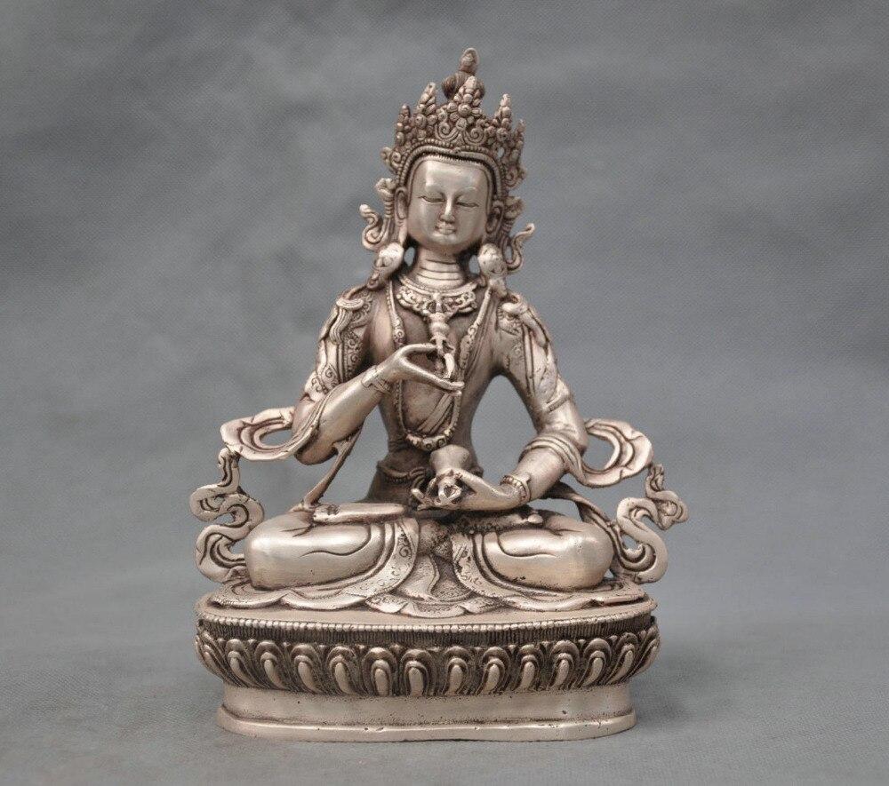 8 La Cina Argento Bronzo Buddismo Vajrasattva Buddha Statue Figurine8 La Cina Argento Bronzo Buddismo Vajrasattva Buddha Statue Figurine