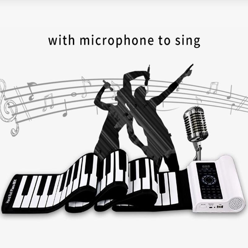 61 Keys <font><b>Bluetooth</b></font> MID <font><b>Flexible</b></font> Piano with Speaker Built-in Microphone Soft <font><b>Keyboard</b></font> Portable Silicone Roll Up Electronic Piano