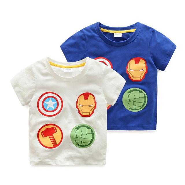 Meninos de verão Camisetas Crianças de Algodão Top de Manga Curta Homem de Ferro crianças Roupas O Pescoço Capitão América Menino T-Shirt 2017 Menino roupas