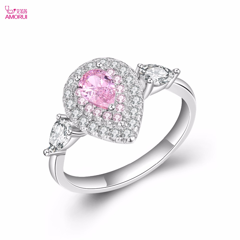 AMORUI Romantic Pink Love Silver Ring for Women AAA Zircon Waterdrops Engagement/Wedding Rings Gift Dropshipping