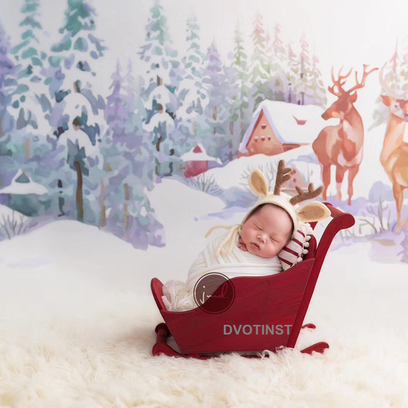 Dvotinst Newborn Photography Props Baby Posing Bed Christmas Sled Mini Snow Car Fotografia Accessorio Studio Shoot Photo Props