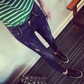 925 2016 autumn and winter Dark Blue placketing trousers female skinny pants jeans slim female