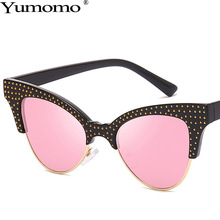 Yumomo Round Sunglasses Women Vintage Borderless Cut Face Pink Blue Pastic Frame 2019 New Fashion Luxury Brand Female Eyewear