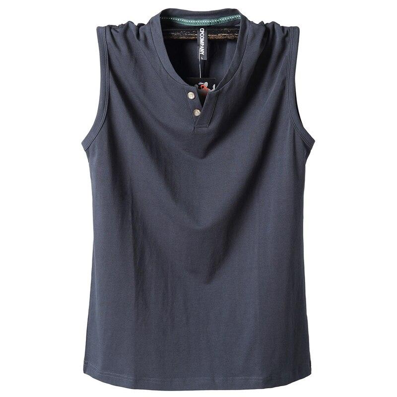 Pure Cotton Classic Tank Tops Men Sleeveless Tank Shirt Solid Color V-Neck Tees All-match Tees Button Sweatshirts Tank Men 5XL