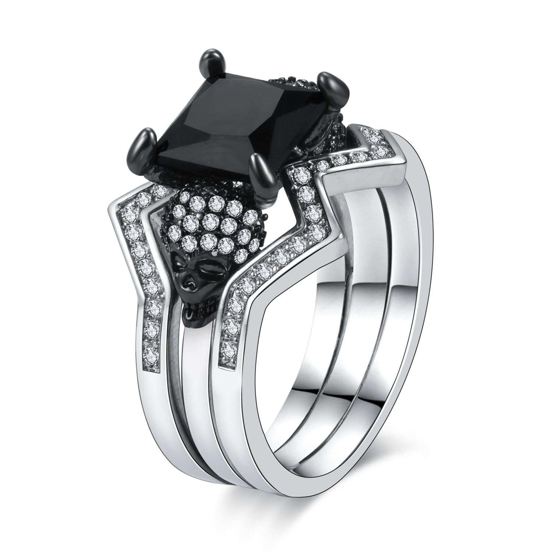 Women's Skull Ring Black CZ Stone Punk skull men's jewelry Rings  Set 1