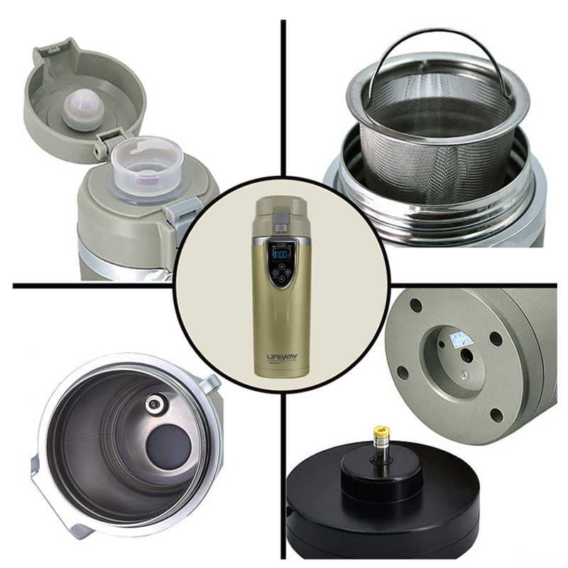 12V Car Kettle Portable stainless steel mini travel kettle car water heater Electric Kettle Car Mug Thermol Water Bottle 350ML
