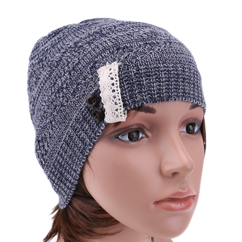 Women Cap Lace Button Warm Hat Winter Autumn Skullies Knitted Beanie Cap Casual Outdoor Ski Caps Warm Hats For Women Men Beanie winter hat casual women s knitted hats for men baggy beanie hat crochet slouchy oversized ski caps warm skullies toucas gorros