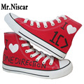 Boys Love Heart Breathable Flat Shoe Men Hand Painted Canvas Shoes Men's One Direction Shoes for Adults