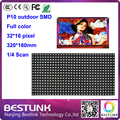 p10 Outdoor full color RGB 32x16 P10 led display module 32*16 pixel 1/4 scan SMD P10 display screen advertising billboard