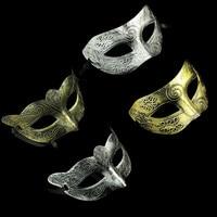 5pcs Lot Retro Mens Woman Venetian Halloween Masquerade Party Masks Antique Silver Gold Half Face Mask