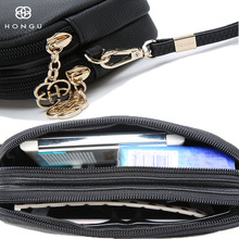 HONGU Luxury Genuine Leather Crossbody Bags Women Key Wallet Purse Coin Chain Messenger Evening Bags Red Female Shopping Handbag