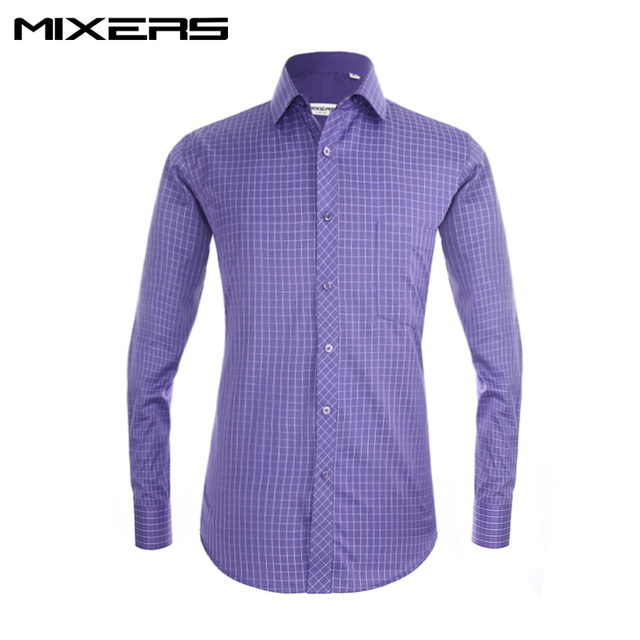 New Arrival 2018 Formal Dress Shirt Men Long Sleeve High Quality Classic Purple Casual Shirts Mens Clothes Social Big Size 4XL