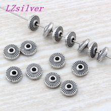 300Pcs Antique silver Zinc Alloy Round Disc Dotted Beads Spacer 8X3mm DIY Jewelry D09
