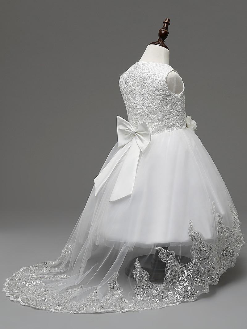 Baby girls summer trade LACE hook flower dress tail wedding dress-in ...