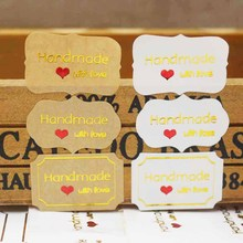 100pcs Multi styles gold foil label stickers DIY handmade with love sticker labels thank you gift /jewlry/cookies