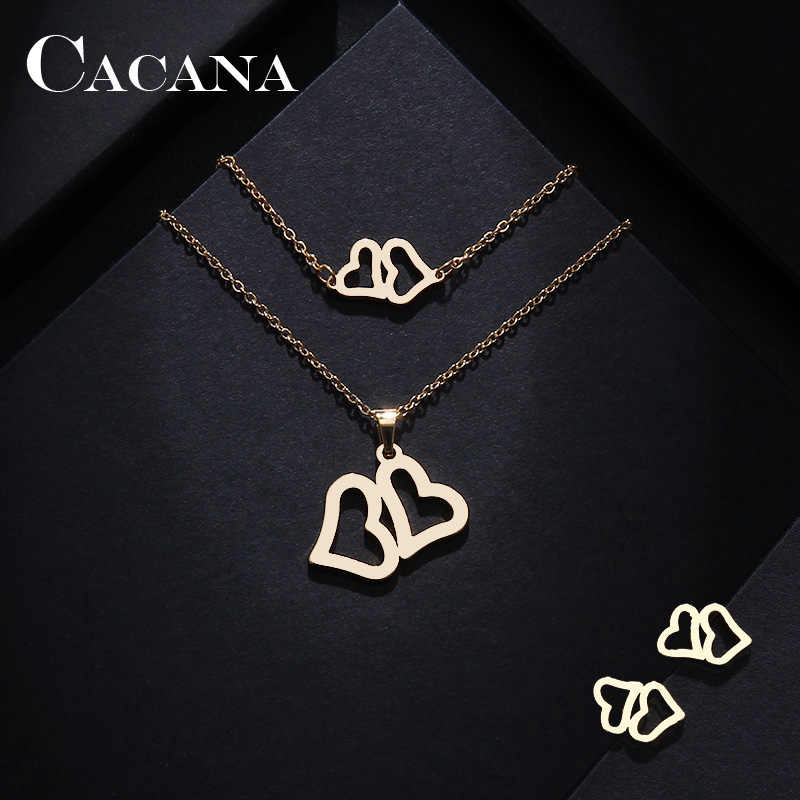 CACANA Stainless Steel Sets For Women Double Heart Shape Necklace Bracelets Earrings For Women Lover's Engagement Jewelry S511