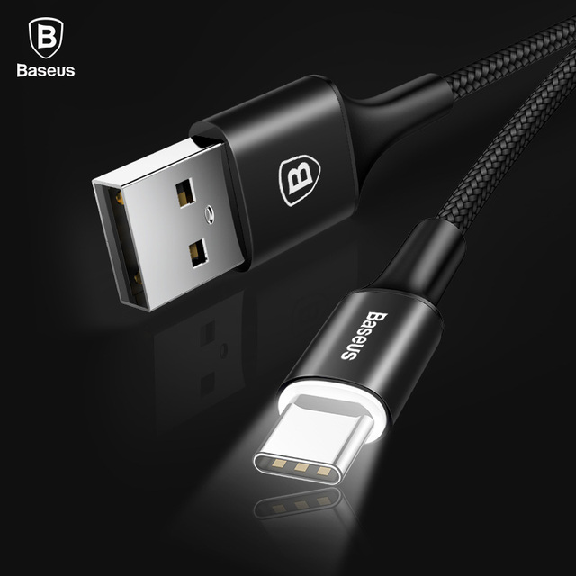Baseus USB Type C Cable For Samsung Galaxy S9 S8 Note 8 Plus Fast Charging Cable For Xiaomi Mi 5 Oneplus 6 USB Type-C Cable