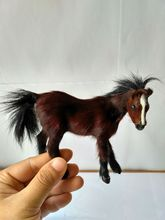 small cute simulation  horse toy polyethylene&furs brown horse model doll gift about 12x10cm цена