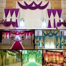 Nen 3pcs/lot (1pcs 4*3m+2pcs 2*2m) ice silk Wedding Drape curtain Pleated Backdrop Curtain Decoration&Swag Background